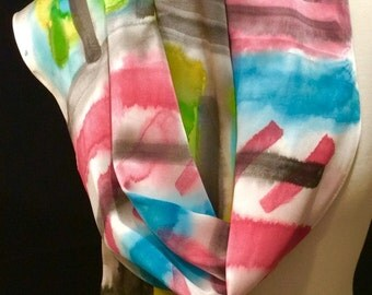 Romantic Abstract Silk Scarf