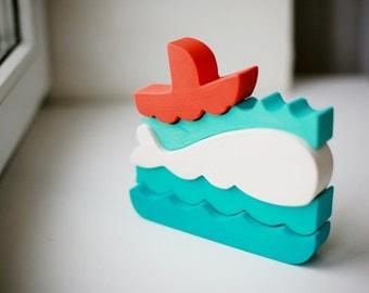 White whale, Orange, Turquoise, Sea, Mothers day, Montessori, Game, Educational toy, Waldorf, Eco, Vegan, Toddler, Stacking toy