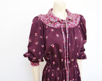 70s Boho Dress, UK14, Vintage Dress, Burgandy, EU42, Floral, Knee Length Dress, Festival Dress, Boho, Hippy, Midi Dress, Vintage Clothing