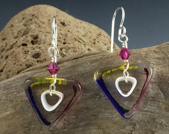 Art glass earrings with Swarovski crystal and sterling silver