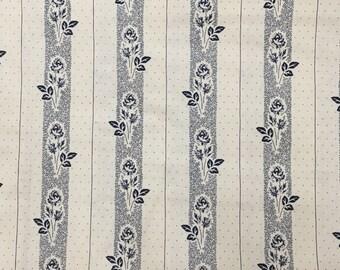 "By The Half Yard - Panier De Fleurs by French General for Moda, #13595-14 Lengthwise Rosebud Stripe - 1.5"" Blue Flowers on Cream, Blue Dots"