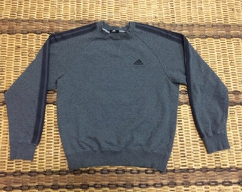 Vintage 90's Adidas Black 3 Stripes Sport Classic Design Skate Sweat Shirt Sweater Varsity Jacket Size S #A616