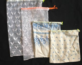 Set of zero waste cloth and mesh produce bags, 100% recycled, set of 4