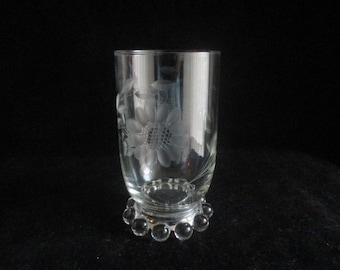 Hughes Cornflower (Candlewick) Cut Floral Clear Water Goblet/Glass
