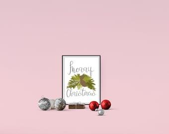 Merry Christmas Printable // Christmas Printable // Wall Art // Digital Download