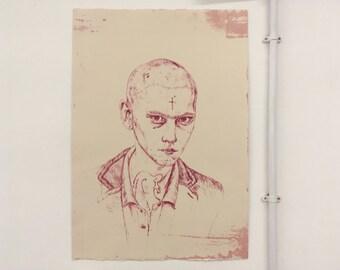 Punk Skinhead Lithography Print - Pink