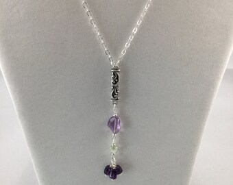Amethyst and pale green crystal dangle pendant