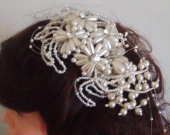 Acconciatura matrimonio sposa wedding white hairstyle pearls hair comb