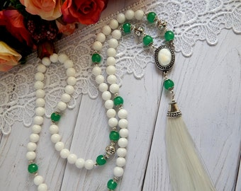 White Tassel  Necklace  Long necklace Beaded Necklace Agate necklace
