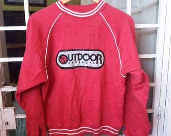 Vintage Outdoor products sweatshirt spellout embroidery/red/large/sportwear/streetwear