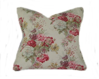 Charming Waverly Rose Boquet Pillow Cover -shabby chic, cottage chic, floral, pink