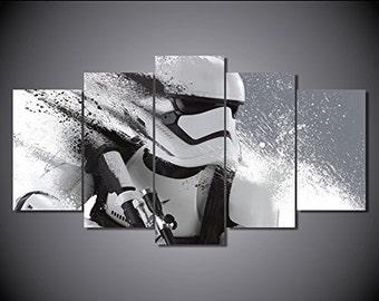 Stormtrooper Star wars print canvas decoration 5 pieces  size