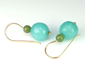 Amazonite, jade FangFrisch 750 earrings gold jewelry design unique hand made in Germany
