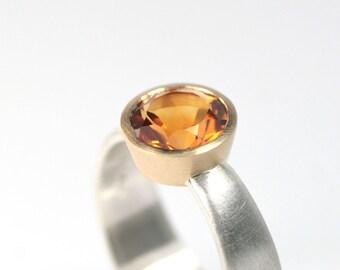 Ring Citrin Silber 750 Gold Fassung hand made in germany Schmuckdesign FangFrisch Unikat