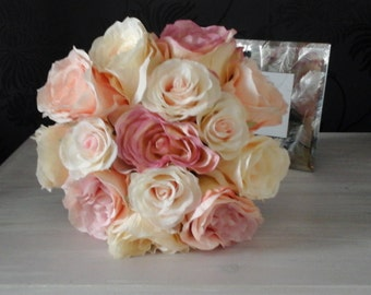 pink silk roses ivory roses brides bouquet bridesmaid bouquet pink silk bouquet