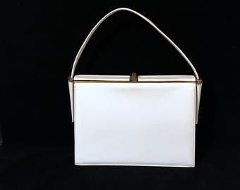 Vintage Handbag Vintage Bags By Nicholas Reich Designer Handbags White Patent Leather Top Handle Retro Purse Mid Century White Leather Bag