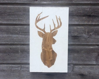 Stag head silhouette, Wood sign, Deer head, Wall decor, Wall hanging, Stag head, Hand painted (36cmx21cmx2cm)