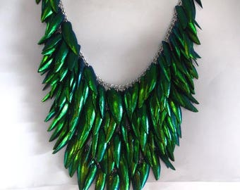 Free Shipping Natural Beetle Wing Green Necklace Fashion All 5 Rows