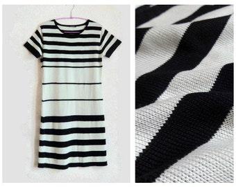 MARIMEKKO Dress Knee Height Knitted Cotton Dress Short Sleeve M Size Marimekko Clothing Vintage Clothing Black & White Striped Dress