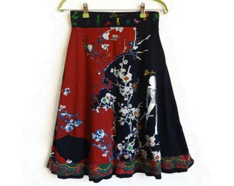 DESIGUAL Colorful Skirt Abstract Printed Embroidered Cotton Jersy Knee Length High Waist XS Women's Clothing Bright Skirt A Line Multicolor