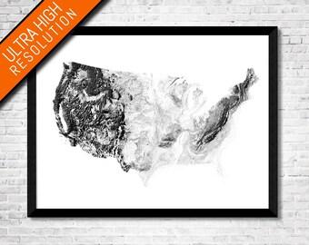Shadowlands USA map art   Printable USA map print, USA print, America map print, America art map, America wall art, United States map art