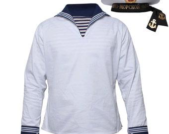 "Russian Naval White Shirt Seaman Sailor Navy fleet Soviet Army Uniform ""Flanka"""