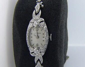 Estate 14 Karat White Gold .84TW DIamond Longines Watch Vintage AWD-8