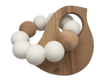 Bird Teething ring in scandi white
