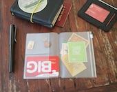 FOLDER INSERT for TRAVELER'S Notebook • passport size (9x13)  • zip folder & pockets • transparent plastic • midori accessories