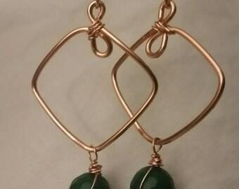 "Emerald green jade ""Esmeralda"" copper hoop earrings, wire wrap emerald green jade and copper earrings, boho emerald  earrings, gifts for her"