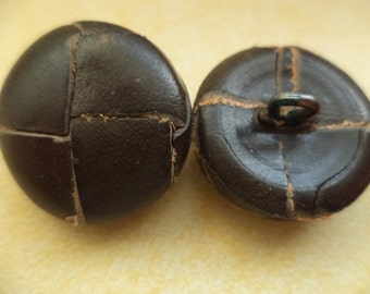 4 leather buttons dark brown 23 mm (2353) buttons leather brown jacket buttons button