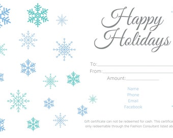 Happy Holiday Gift Certificate 4x6