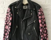 Hand-painted Vintage Leather Harley Biker Jacket