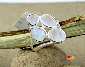 Rainbow moonstone ring, faceted cut moonstone, Sterling silver moonstone ring, Mother's day ring, healing chakra moonstone,ETR1163