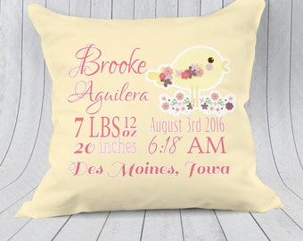 Birth announcement pillow baby stats pillow personalized birth announcement pillow baby stats pillow personalized baby pillow nursery pillow new negle Images
