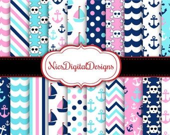 Buy 2 Get 1 Free-20 Digital Papers. Pirate Nautical Papers for Girls (13A no 2) for Personal Use and Small Commercial Use Scrapbooking