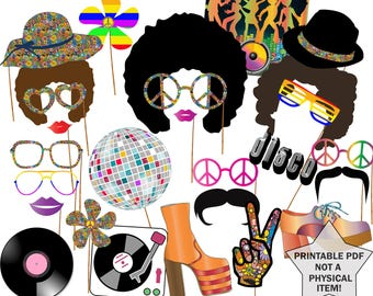 "70s Party Photo booth props: ""DISCO PARTY PROPS"" Hippie Party Disco Fever Disco ball Afro Wig Printable pdf 1970's Photo Booth 70's theme"