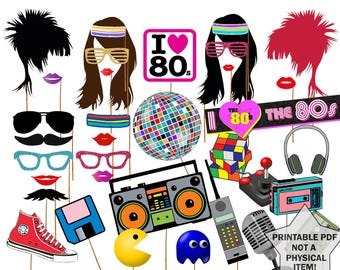 "80s Photo Booth Props: ""80'S PARTY PROPS"" 1980's Era photobooth Props 80s party printable Eighties party  Fun Photo Booth Instant download"