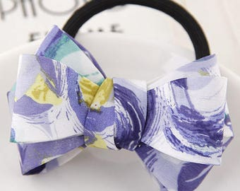 Purple Floral Bow knot Hair Tie