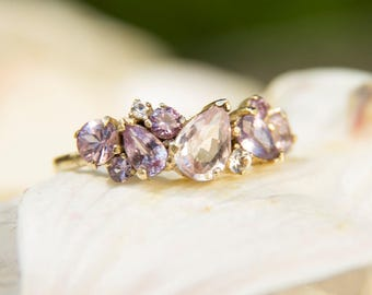"""Cluster Engagement Ring in Purple & Pink Sapphire """"Anastasia"""""""