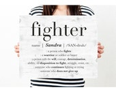 Custom Name Sign, Personalized Friend Gift, Inspirational Quote Wall Art Print, Cancer Survivor Gift, Girl Boss Gift, Fight, DIGITAL PRINT