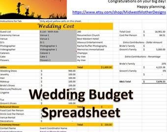 wedding planning budget spreadsheet