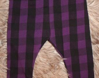 Buffalo plaid leggings- purple