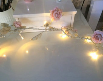 Vintage Rose Flower Garland - with or without lights