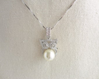 Owl 925 sterling silver necklace,Swarovski crystal pearl,tiny CZ crystal,Sweet and Cute,everyday wear,gift for her