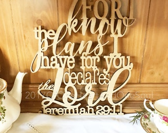 For I Know The Plans I Have For You - Christian Wall Art - Bible Verse Wall Art - Farm House Decor - Rustic Home Decor