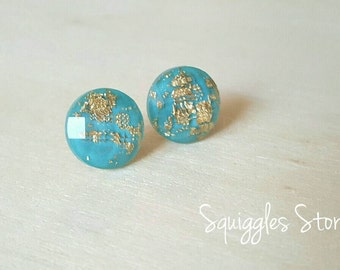 Turquoise Gold Leaf Faceted Stud Earrings Hypoallergenic Titanium Posts