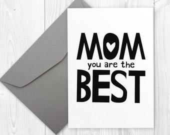 Mother's Day or Birthday printable card for mom - MOM you are the best - Mother's Day Card for mum, Minimalist Mom Birthday Card