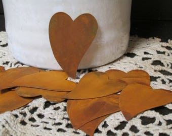 "Lot of 12 Flat Craft Rusty Tin Cut Outs Folk Hearts 4"" Primitives Rustic"