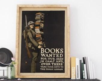 Vintage USA War Propaganda Poster: Books Wanted by Charles Buckles Art Print